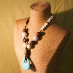 Natural, symmetrical, with Turquoise Teardrop Silicone Pendant, and Natural Wood Letter Beads