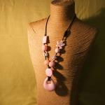 Custom, various beads, soft pink, with Pink Teardrop Silicone Pendant