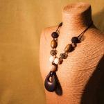 Natural, symmetrical, wth Black Teardrop  pendant