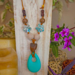 Flower Power -Teal teardrop with natural and teal flowers