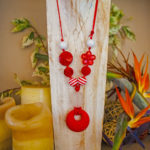 Red & White -Red pendant with red and white on red cord